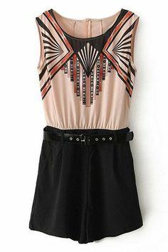 ROMWE | ROMWE Geometric Pattern Belted Pink Playsuit, The Latest Street Fashion