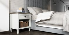 Enzo Bedside Table, white and wooden Home Bedroom, Master Bedroom, Cosy, Classic Style, Furniture Design, New Homes, Stuff To Buy, Australia, Bedside Tables