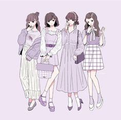 Manga Clothes, Drawing Clothes, Anime Girl Dress, Anime Art Girl, Fashion Design Drawings, Fashion Sketches, Anime Friendship, Cute Art Styles, Anime Outfits