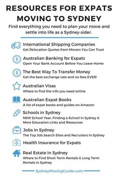Resources for Expats Moving to Sydney, Australia. This is a long list of resources to help you out with your move to Australia. Be sure to scroll all the way down or bookmark this page for later. Hello Australia, Moving To Australia, Perth Australia, Australia Living, Australia Travel, Victoria Australia, Working Holiday Visa, Working Holidays, Moving Overseas