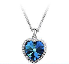Classic Fashion Titanic Heart Of Ocean Necklace Heart Pendant Necklace Zircon Luxury Necklace C254