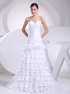 Madina - Trägerloser Ausschnitt A-Linie Organza Brautkleid mit Perlenstickerei