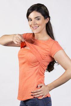 Blusa cuello redondo para lactancia