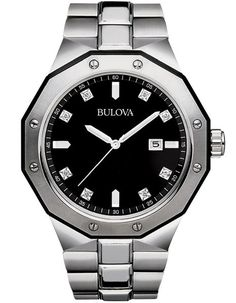 Bulova Mens 8 Diamond Black Dial Marine Star - Date - Stainless Steel - Bracelet