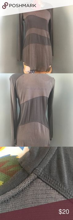 """Stella Carakasi gray stretch jersey/mesh shirt Gorgeous EUC Stella Carakasi shirt in slate gray. 28"""" long. Slightly asymmetrical cut. NO PROBLEMS — no pulled or stains or issues.  Unless otherwise noted, items I'm selling have been worn and will show signs of typical wear. I will note any issues. All items ship promptly from my non-smoking, clean, cat-friendly home. Stella Carakasi Tops Tees - Long Sleeve"""