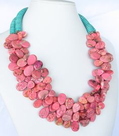 Summer Necklace  Pink Turquoise Statement by WildflowersAndGrace, $76,00