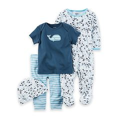 Your cute little sailor will have adorable options with this carter's Whale 4-Piece Take Me Home Set. A super-cute whale print footie is matched with a whale applique T-shirt, striped footless pant, and a whale print hat, all in nautical blue and white.