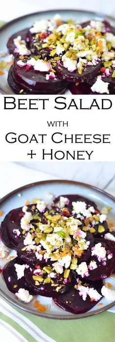 Cold Beet Salad w. Goat Cheese, Honey, + Pistachios # Food and Drink salad Cold Beet Salad w. Beet Salad Recipes, Vegetable Recipes, Vegetarian Recipes, Cooking Recipes, Healthy Recipes, Vegetable Samosa, Vegetable Tian, Dishes Recipes, Vegetable Pizza