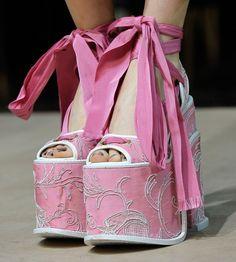 pink platforms, couture
