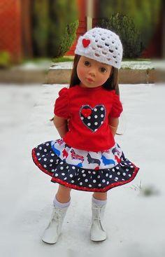 skirt tee & beanie for Gotz Hannah/happy Kidz/designafriend dolls by Vintagebaby