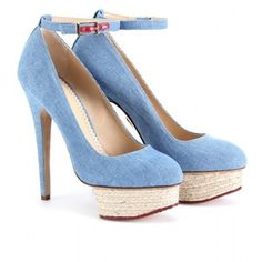 Charlotte Olympia Dolores Denim Detailed Espadrilles, $845...i have some kind of like these except they are multi colored