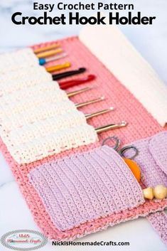 Crochet Organizer, Crochet Storage, Crochet Hooks, Crochet Stitches For Beginners, Easy Crochet Patterns, Crochet Designs, Crochet Ideas, Crochet Pattern Free, Crochet Case