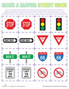 VISIT FOR MORE Does your child know what all the street signs mean? Give him a fun game where he can learn different street signs and practice memorization! Safety Signs And Symbols, Road Safety Signs, Environmental Print, Pre K Activities, Number Activities, Transportation Theme, Creative Curriculum, Matching Games, Street Signs