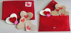 Valentines Day Gift, Felt Purse Envelopes , Printing Love Letter Envelope, Anniversary Birthday, Felt Heart, Handmade Note Card, Jute fabric by FeltMkr on Etsy
