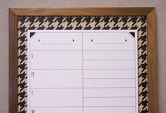 Black & Tan Houndstooth Print Dry Erase Board by Tailor Made Whiteboards