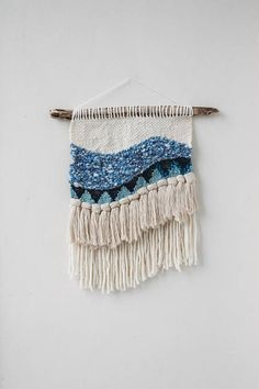 Blue Textured Wave Woven Wall Hanging for Nicole by hellohydrangea