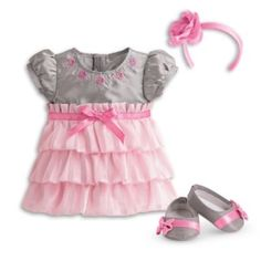 American Girl Bitty Baby - Twirly Tiered Dress for dolls - Bitty Baby 2015 Baby Alive Doll Clothes, Bitty Baby Clothes, Girl Doll Clothes, Girl Dolls, Bb Reborn, Reborn Baby Dolls, Baby Doll Diaper Bag, Doll Wigs, Baby Girl Shoes