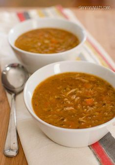 Slimming Eats Chicken and Lentil Soup - gluten free, dairy free, Slimming World (SP) and Weight Watchers friendly Slimming Eats, Slimming World Recipes, Soup Recipes, Cooking Recipes, Healthy Recipes, Free Recipes, Savoury Recipes, Cooking Food, Ww Recipes