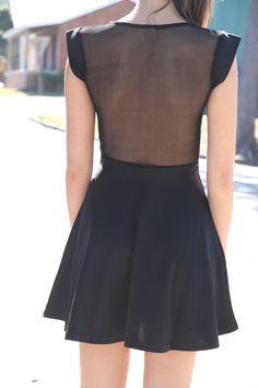 Mesh back dress #style #fashion #black