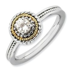 Stackable Expressions Sterling Silver & 14k White Topaz Ring