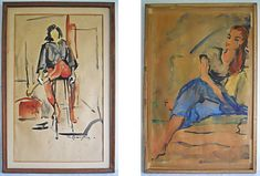 "Signed "" VE Carrington "". A musician on one side, a glamour girl on the other side. A painting on each side. Painting area about x If you are expecting it to be new in the box, never touched by life or human hands, it is not for you. Mid Century Modern Art, Mid Century Decor, Glamour, Watercolor Paper, Female Art, Painting, Ebay, Wall Art, Vintage"