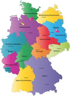 German States and State Capitals Map - States of Germany German Grammar, German Language, Berlin Brandenburg, Country Maps, Learn German, State Map, Central Europe, Europe Europe, Germany Travel