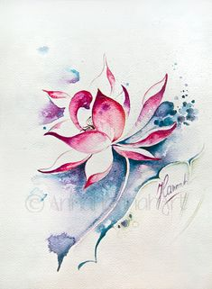 pink white lotus flower freedom blue space transformation enlightment yoga zen nature fine art watercolour original gentle soft magical gift