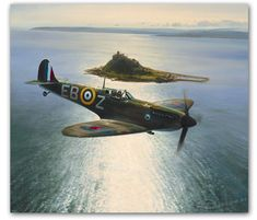 Aviation art by Robert Taylor depicting Spitfires patroloing the South Coast during the Battle of Britain Aircraft Photos, Ww2 Aircraft, Fighter Aircraft, Military Aircraft, Fighter Jets, Spitfire Airplane, St Michael's Mount, Focke Wulf, Aircraft Painting