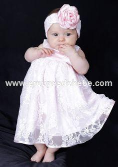 Vestidos para bebê de renda branca, com faixa de cabelo e flor em cetim