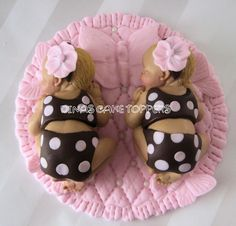 Butterfly Twin Girls Baby Cake Topper Baby Shower 1st birthday Brown Pink
