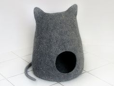Felted ecofriendly cat bed natural gray cat cave  by Miaussimo, $70.00