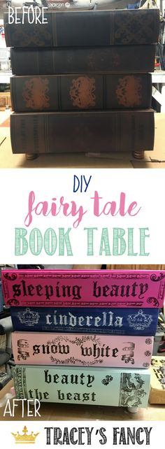 I painted this dark dreary table from Hobby Lobby into a Fairy Tale Book Table for Children's Nursery | Painted Furniture by Tracey's Fancy | Furniture Makeovers | Furniture Before and Afters | Nursery Furniture | Nursery End Table | How to Stamp Furnitur