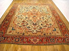 "Persian: Geometric 15' 0"" x 12' 6"" Antique Serapi at Persian Gallery New York - Antique Decorative Carpets & Period Tapestries"