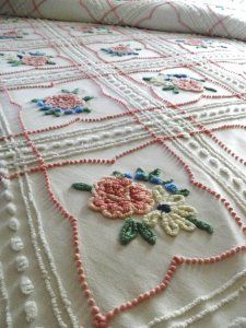 Vintage chenille bedspread with floral design