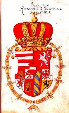Coat of arms of Rudolf II, Holy Roman Emperor Großes Wappenbuch… Fernando Iii, El Canton, Holy Roman Empire, Western World, Roman Emperor, Herzog, Local History, Dark Ages, Crests