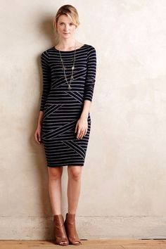 NWT ANTHROPOLOGIE BANDED STRIPE COLUMN DRESS by BAILEY 44 L #Bailey44 #StretchBodycon #Casual
