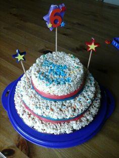 Rice crispy cake Rice Crispy Cake, Desserts, Tailgate Desserts, Deserts, Dessert, Food Deserts