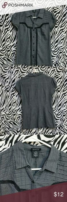 Grey & Black Calvin Klein Jeans Button  Down Sophisticated little grey blouse with black trim.  Cute enough to go from work to girls' night out! Calvin Klein Jeans Tops Button Down Shirts