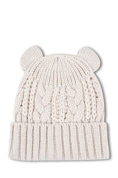 Cream Cable Knitted Hat with Ears TALLY WEiJL