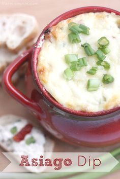Asiago Dip_ I love asiago cheese. It all started in high school when me and my bff would get an asiago cheese bagel every morning at Einstein Bagels. Appetizers For Party, Appetizer Dips, Appetizer Recipes, Cheese Appetizers, Dip Recipes, Snack Recipes, Cooking Recipes, Cooking Ideas, Crockpot Recipes