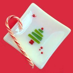 White Glass Christmas Tree Plate, Fused Glass, 5 Inch Square | ResetarGlassArt - Glass on ArtFire