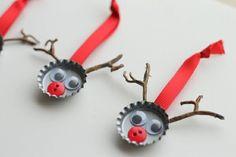 weihnachtsbasteleien mit bierdekeln weihnachtshirsche
