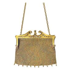 Art Nouveau Gold Diamond Pearl Purse Bag | From a unique collection of vintage more jewelry at http://www.1stdibs.com/jewelry/more-jewelry-watches/more-jewelry/