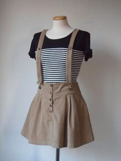 90s 70s Jumper Mini Dress <3 Vintage Beige Cord Cotton Bib Pinafore Minidress w/ Skater Skirt # Small S / Medium M @ Boho Grunge Preppy Clueless Lolita