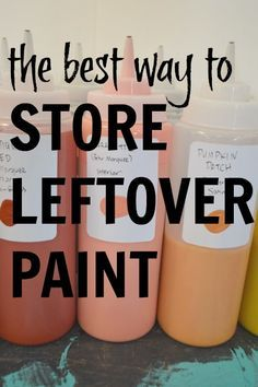 Try this organizational tip: Store extra paint in squeeze bottles to free up storage space and make it easier to use. Perfect for crafts, paint touch-ups and small spaces.