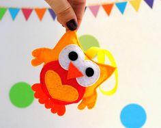 Plush Felt Owl Baby shower felt Owl Ornament  by Mariapalito