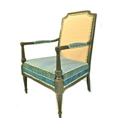 River Rock teal, green and cream upholstered armchair