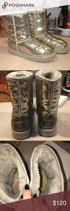 """Sequin Sparkle Uggs Gently worn sequin Uggs in great condition. Some wear and dirt from normal use. The fur on the interior is still SUPER soft but the fur where your feet go is just a bit dirtied. The soft part around where it says """"ugg"""" is a little worn and the outside rim of the outsole is a little dirty but I cleaned it as best I could. Overall these are gorgeous shoes that have a lot of life left in them! Size 10. UGG Shoes"""