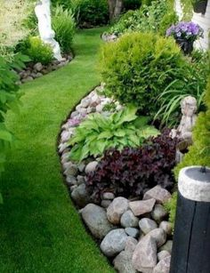 Use larger rocks with edging to hold smaller rock in landscaping when leaf blowing.