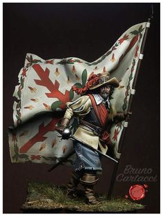 Captain Standard-bearer of the Tercios - Rocroi - Virtual Museum of Historical Miniatures Military Figures, Military Art, Thirty Years' War, Virtual Museum, Miniature Figurines, Toy Soldiers, Box Art, Figure Painting, Jewelry Art